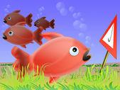 Danger to fish — Stock Photo