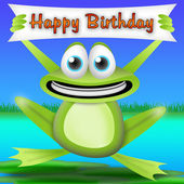 Frog happy birthday — Stock Photo