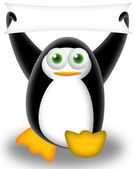 Penguin with banner — Stockfoto