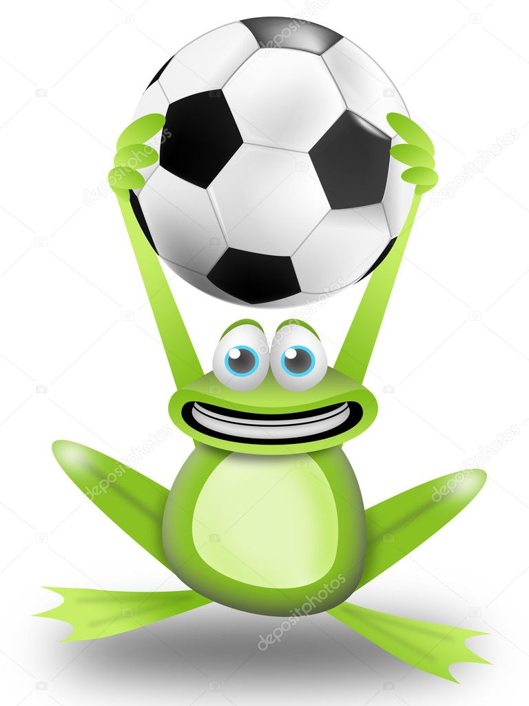 Frog calls to play football with the ball in the hands — Foto Stock #5572110