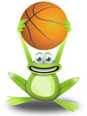 Playing basketball with the frog — Stockfoto