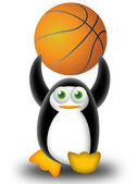 Playing basketball with the penguin — Stock Photo