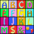 Cartoon alphabet - Stock Photo