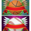 Basketball and baseball banner - Stock Photo