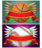 Basketball and baseball banner — Stock Photo