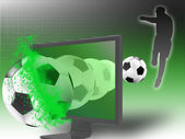 Soccer on 3d television — Stock Photo