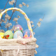 Colorful Easter basket filled with hand painted eggs — Stock Photo #5539459