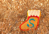 Christmas stocking shaped colorful cookie — Stock Photo