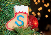 Santa's own cookie up in Christmas tree — Stock Photo