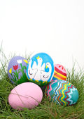 An assortment of colorful hand painted Easter eggs — Stock Photo