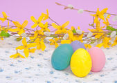 Hand painted Easter Eggs in pastel colors — Stock Photo