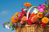 Beautiful, bright fall flowers in a wicker basket — Stock Photo