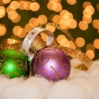 Green and purple gold adorned Christmas ball ornament — Stock Photo