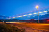 Rural Bus Light Trail — Stock Photo