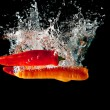 Chillies and Carrots Water Splash — Stock Photo