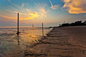 Sunset at a beach in Malaysia — Stockfoto
