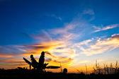 Západ slunce ve venkovských malajsie — Stock fotografie