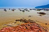 Fishing Boats and Rocks — Stock Photo