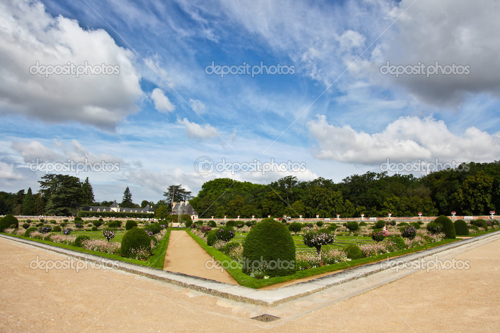 Garden of Chateau de Chenonceau in Loire Valley, France — Stock Photo #6740557