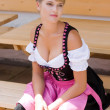Bavarian woman in a dirndl — Stock Photo