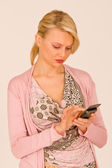 Woman at telephone — Stock Photo