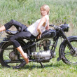 Young womon motorcycle — Stock Photo #6454498