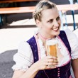 Stock Photo: Bavariwomin beer garden
