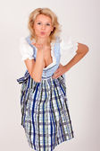 Bavarian woman with a kiss — Stock Photo