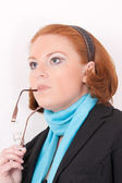 Portrait of a redheaded woman business — Stock Photo