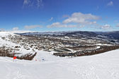 Panoramic view of ski route in bright winter day — Stock Photo