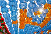 Blue and yellow lanterns on Buddah's birthday — Stock Photo