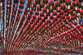 Red lanterns in buddhist temple for Buddha birthday celebration — Stockfoto