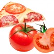 Royalty-Free Stock Photo: A slice of pizza and tomato