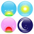 Day, night, sunrise, sunset icons — Stok Vektör