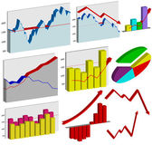 Set of 3d business graphs — Stock Vector