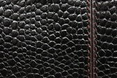 Macro picture of black leather with stitches — Stock Photo