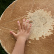 Stock Photo: Baby hand playing drum