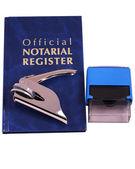 Notar register drucker und stempel — Stockfoto
