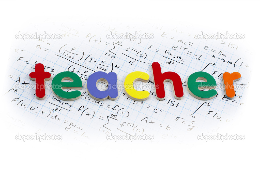 Teacher written in colorful wooden letters over a calculus background — Stock Photo #5580344