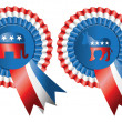 Republican and Democratic Party Buttons - Stockfoto