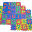 Foam Letters and Numbers on White - Foto Stock