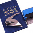 Notary Register Embosser and Stamp — Stock Photo