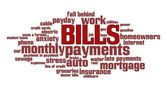Bills Word Cloud — Zdjęcie stockowe