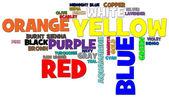 Barvy slovo mrak — Stock fotografie