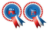 Republican and Democratic Party Buttons — Stockfoto