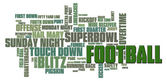 Fotbal slovo mrak — Stock fotografie