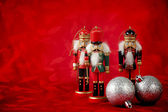 Nutcrackers on Red — Stock Photo