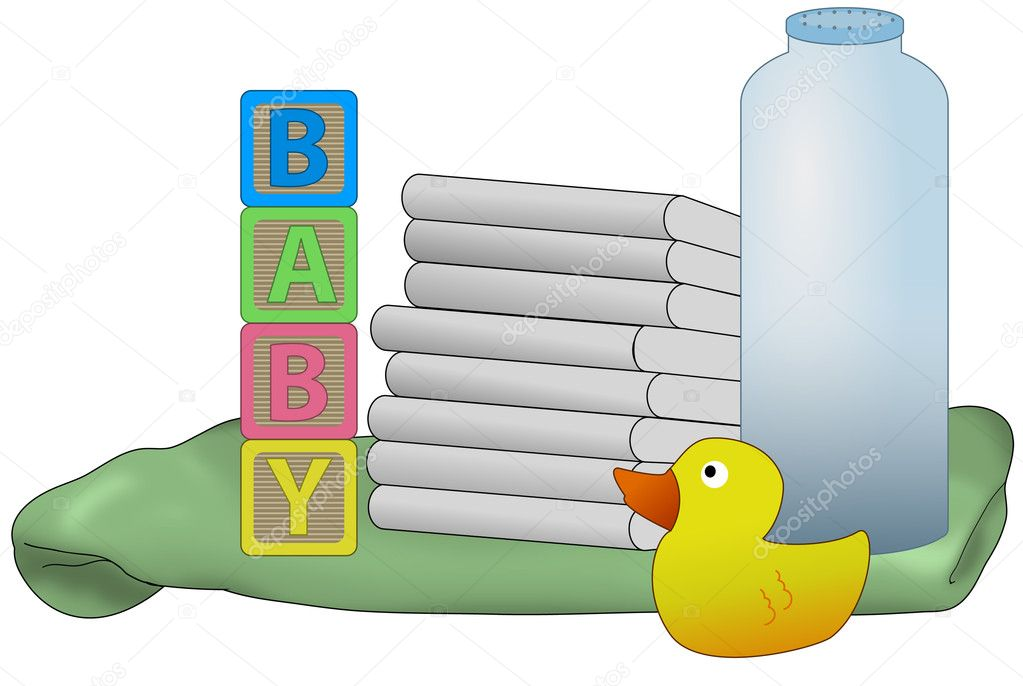 Items for a new baby, diapers, powder, receiving blanket, rubber duck, illustration isolated on white — Stock Photo #5612368