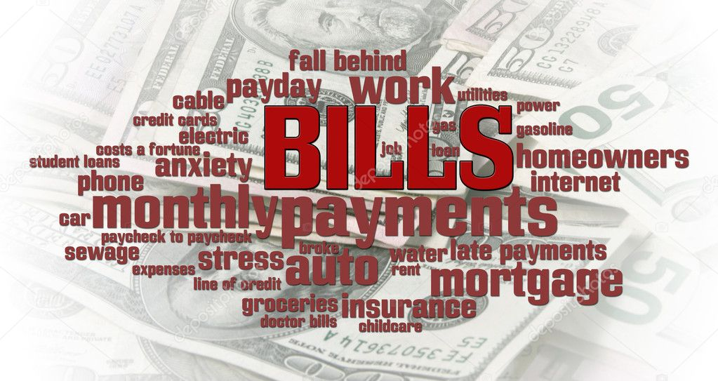 Bills word cloud over a money pile background  Stock Photo #5612380