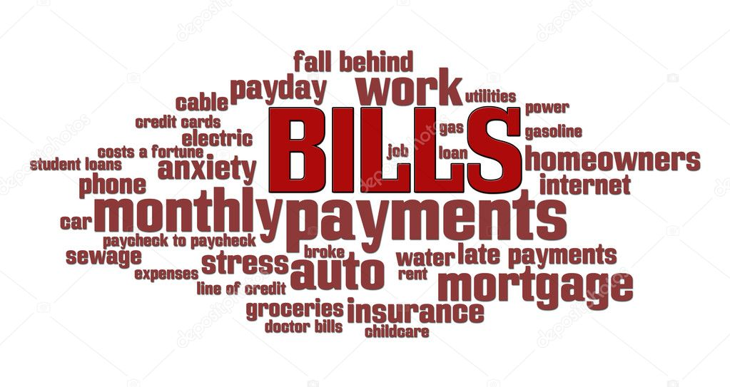 Bills word cloud over a money pile background — Stock Photo #5612383